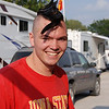 2009 ISU vs. Iowa; Friday Night Tailgate : David's been growing his hair out for a few months just so he could have a Mohawk for this game...once again, he was on national TV. We gave our tickets and RV pass to Marcia and Chris, but came up on Friday night to see everyone. Gary and David made chicken fajitas in the wok on the grill. Great night!