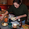 "2012 ""Chopped"" featuring Chef Marcia : Susan, Marilyn, & I picked out some ""secret ingredients for the mystery basket"" for our adapted version of TV's Food Network ""Chopped"" (timed competition cooking). We decided to have 1 contestant--Marcia--instead of 4, since we only had 1 cooking area.  Haha...always have to be a little unique... (Chef Marcia did a great job, and won!)"